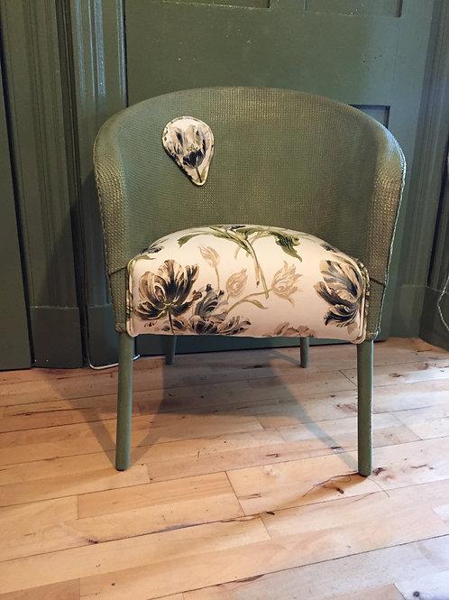 Vintage:  Green painted wicker veranda upholstered chair