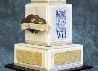 Our square I love you Wedding Cake