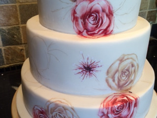 Hand Painted wedding cake in production