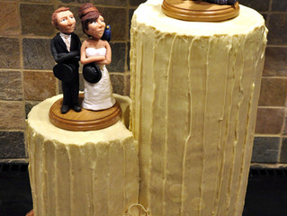 Chocolate tower wedding cake