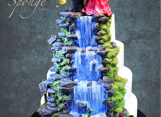 A scenic wedding cake