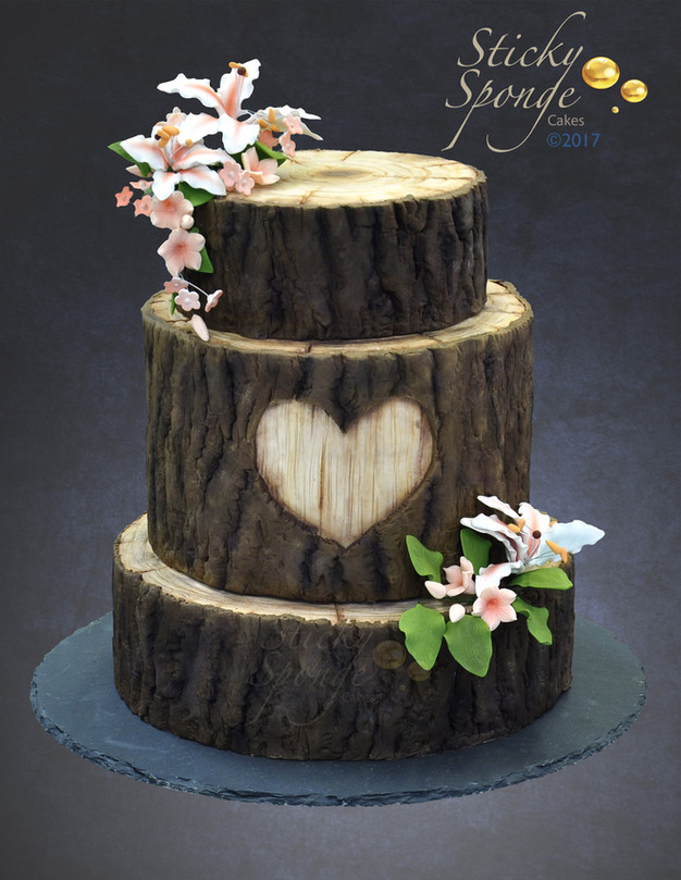 wedding cake nature back to nature with a rustic wood cake sticky sponge 23298