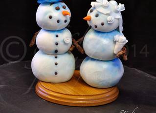 Fun Cartoon style Winter wedding Cake Toppers