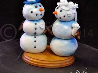 Fun Cartoon style Winter wedding Cake Toppers