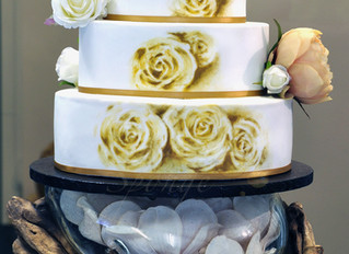 Simple painted wedding cake