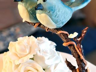 Tilted rose blossom wedding cake