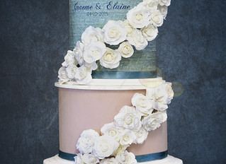 Our large rose twist wedding cake customisable text