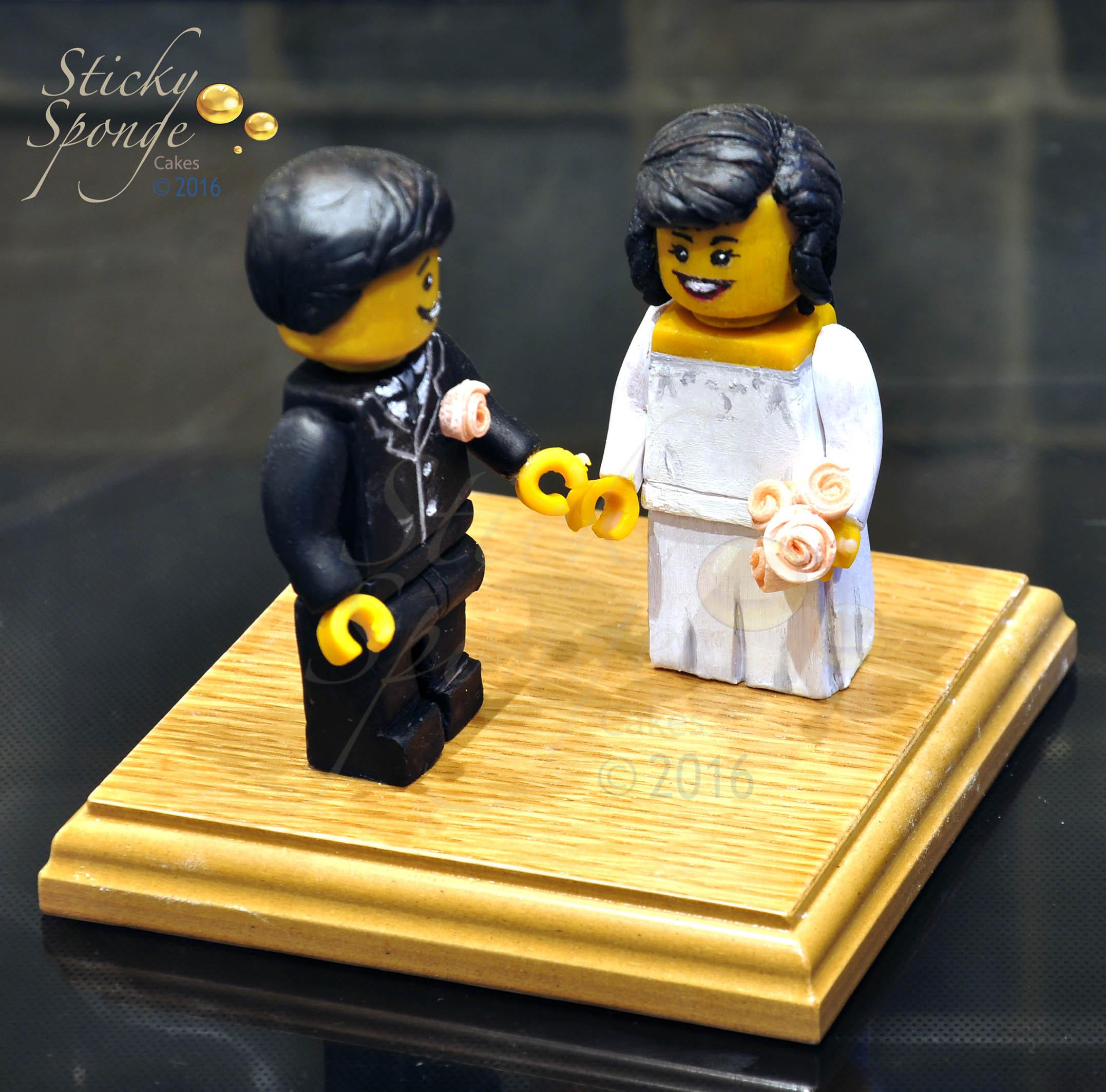 Hand sculpted Lego Wedding Cake Topper   Sticky Sponge