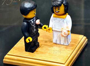 Hand sculpted Lego Wedding Cake Topper