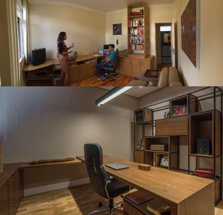 Antes e depois: mudanças no escritório permitiram aumento da produtividade do morador Cláudio Ikemura  - Daniel Mansur/Divulgação