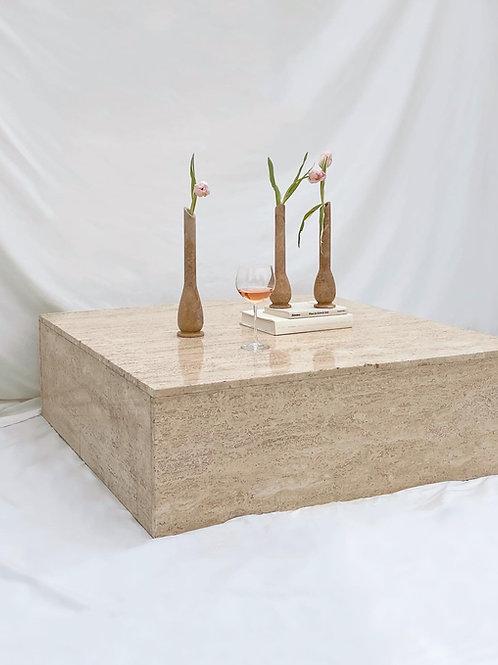 Extra large travertine block coffee table