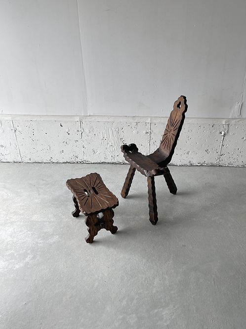 Antique birthing chair and stool