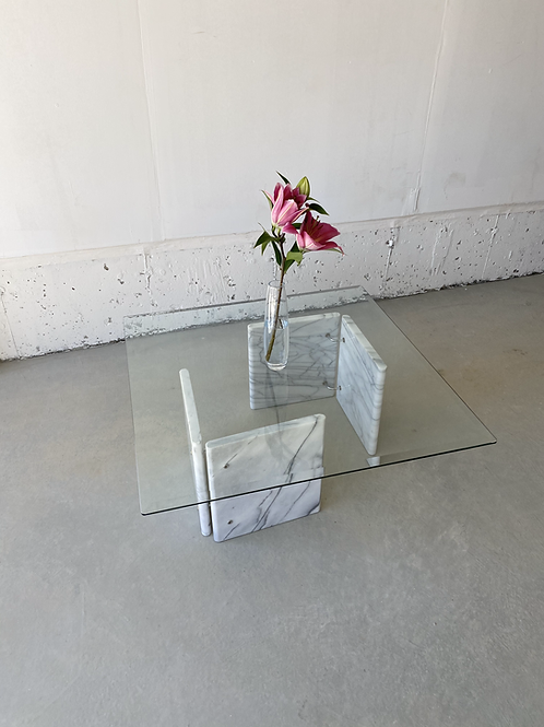 Carrara marble and glass coffee table