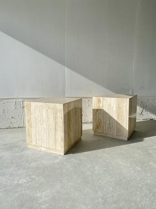 Natural travertine plinth side tables