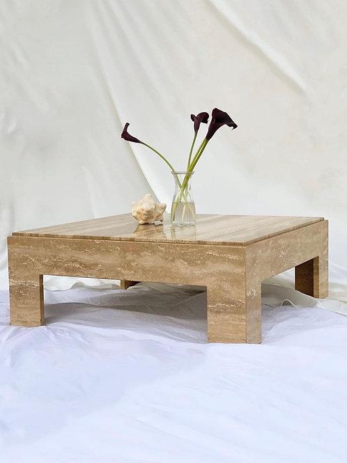 Cream and walnut travertine coffee table