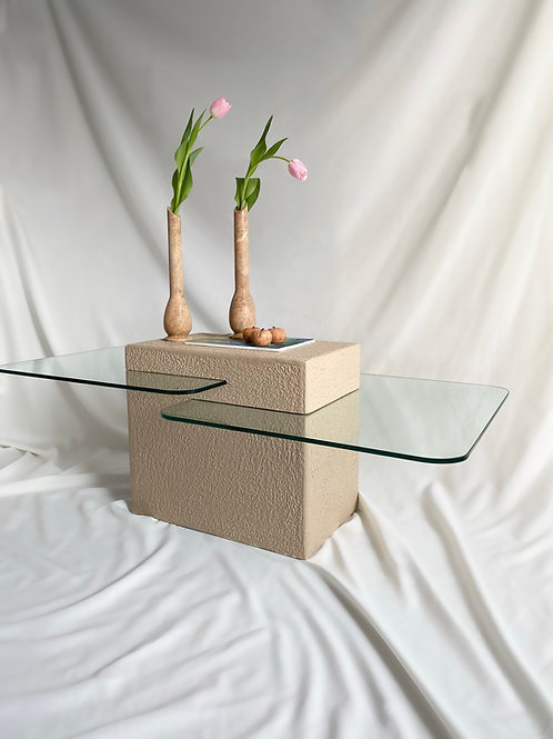Two-tiered glass and crèpe coffee table