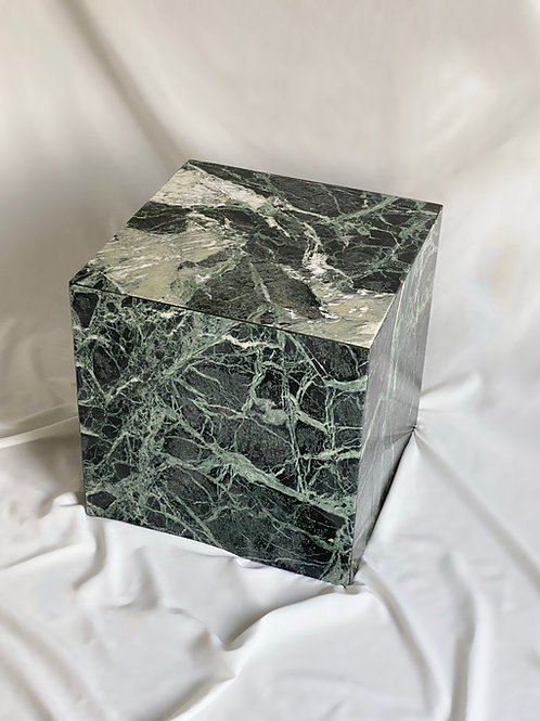 Green marble cube side table