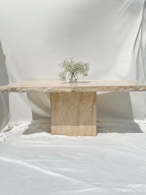Tumbled edge travertine dining table