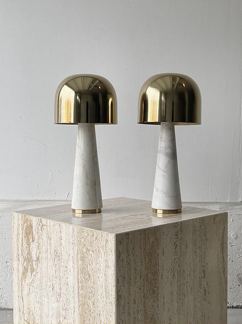 Brass and marble mushroom lamp