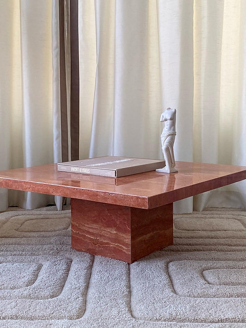 Red travertine coffee table