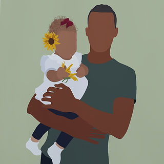 Daddy and Daughter Spring Sunflower  Portrait Poster Print