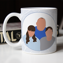 Family Dad and Kids, Faceless portrait m