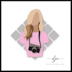 photography logo digital vector drawing illustration pink blonde woman