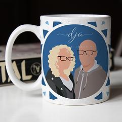 Couple faceless portrait on mug blue .pn