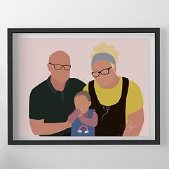 Family Faceless Digital Portrait Poster