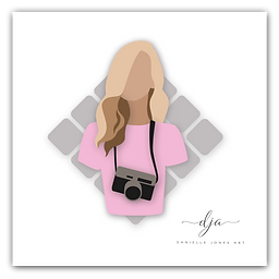 photographer vector digital drawing pink blonde girl photography logo