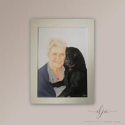 woman and dog colour pencil pet portrait