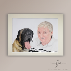 man and his dog portrait in memory of co