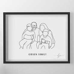 Digital Line Art Family Portrait Print