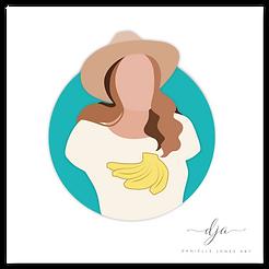 Backpacking bananas vector drawing illustration logo brand icon, brunette girl
