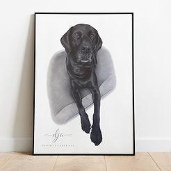 Black labrador dog portrait commission i