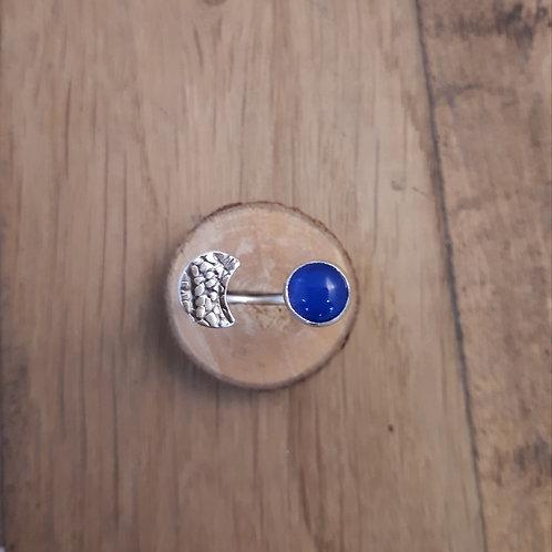 Bague réglable Agate bleue et lune laminée