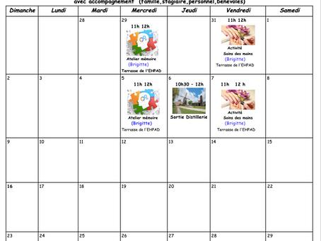 Planning Activités de la Résidence - Août 2020