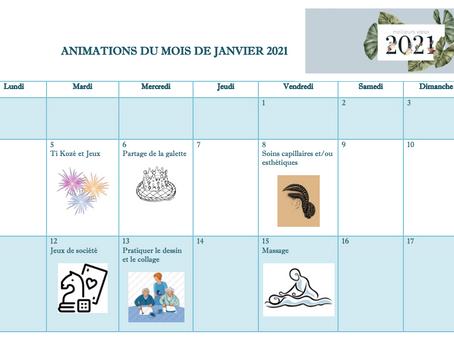 Planning Activités De La Résidence - Janvier 2021