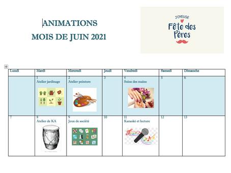 Planning Activités De La Résidence - Juin 2021