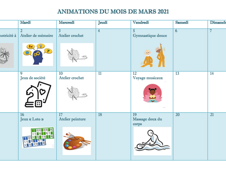 Planning Activités De La Résidence - Mars 2021