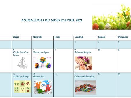 Planning Activités De La Résidence - Avril 2021