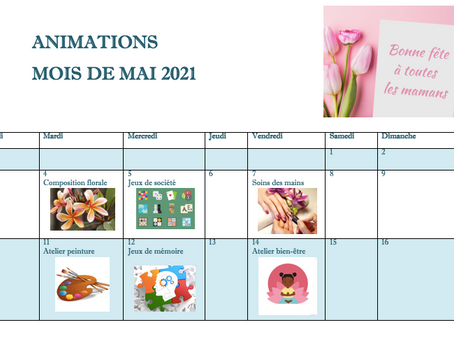 Planning Activités De La Résidence - Mai 2021