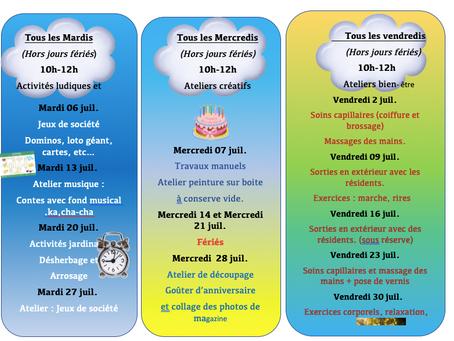 Planning Activités De La Résidence - Juillet 2021