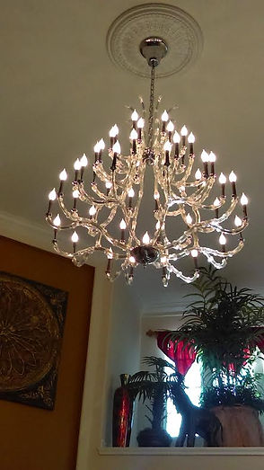 2nd Mile Services Electrical adds and replaces chandeliers.