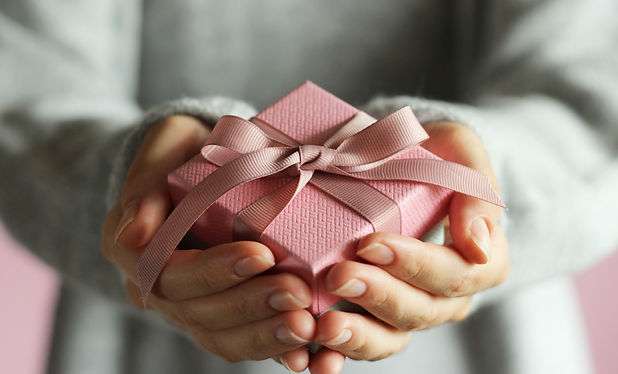 gift box in female hands. Holiday, give,