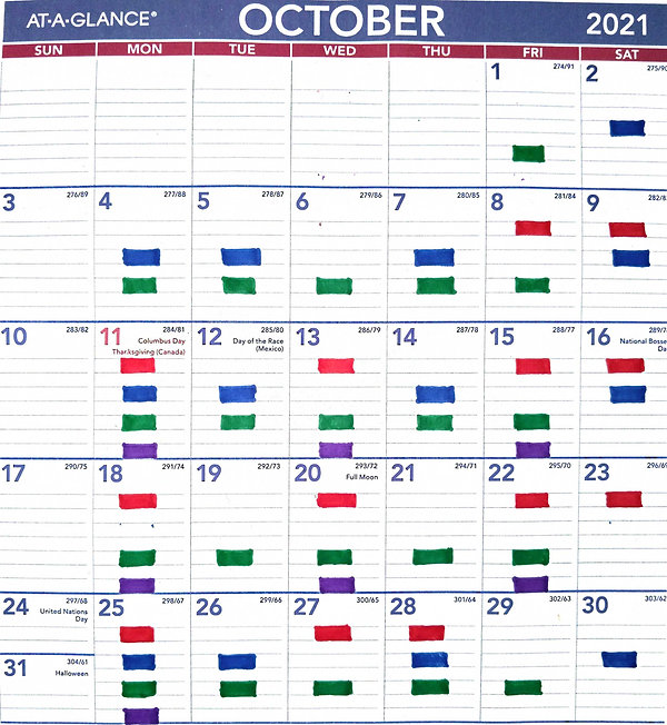 Color Coded October Calendar