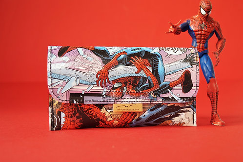 SPIDERMAN Tabaktasche Comic upcycling Unikat (vorne)