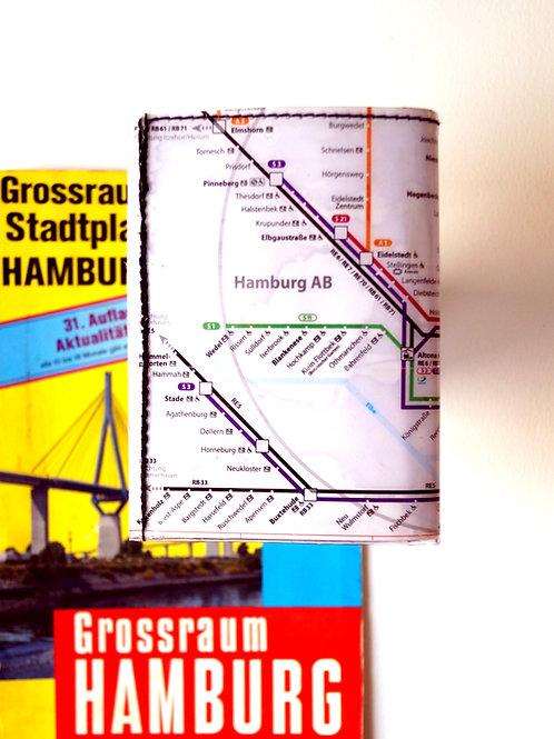 Portemonnaie HAMBURG ALTONA S+U-Bahnplan upcycling Unikat!