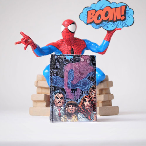 SPIDERMAN Portemonnaie Comic upcycling Unikat (vorne)