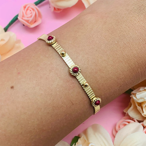 Bracelet jonc|bijou femme original |acier|plaqué or|ZOÉ by HerlinG
